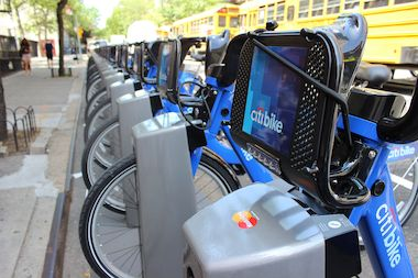 A Citi Bike station in Manhattan.