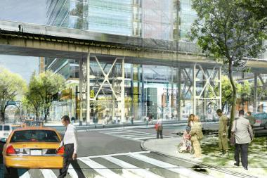 Proposed view of West 129th Street and Broadway. A centerpiece of the new facilities will be the Jerome L. Greene Science Center.