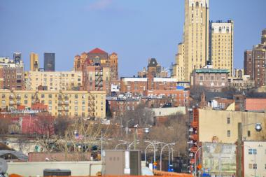 A view of Downtown Brooklyn from a rooftop in Carroll Gardens.