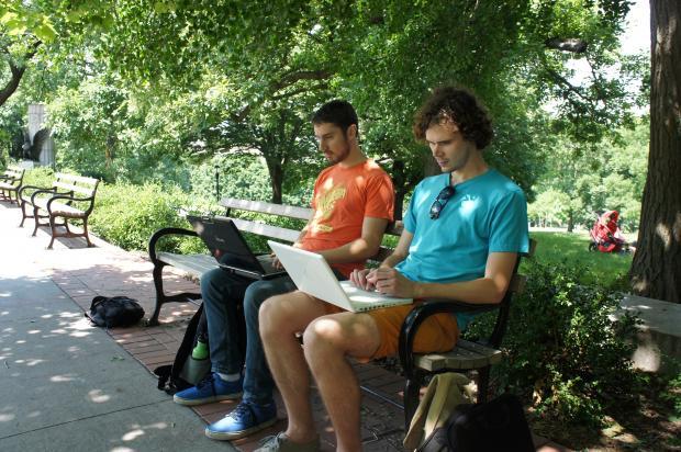 Office expats enjoy the sunshine during school hours with Brooklyn's free outdoor workspaces
