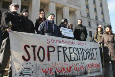 Members of South Bronx Unite, a coalition that filed a lawsuit to stop FreshDirect from relocating to the South Bronx, outside Bronx Supreme Court in March 2013. In a ruling filed on May 31, a judge dismissed the lawsuit.