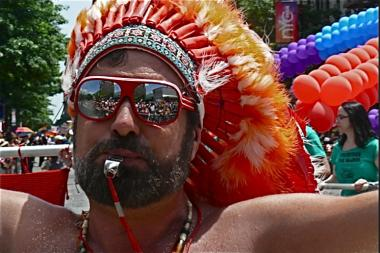 A gay pride reveler at a 2012 event.