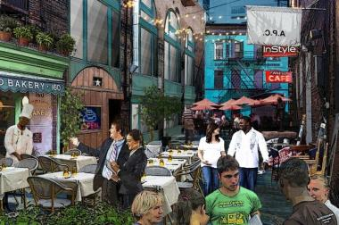 A rendering of the Grove Alley Nite Market.