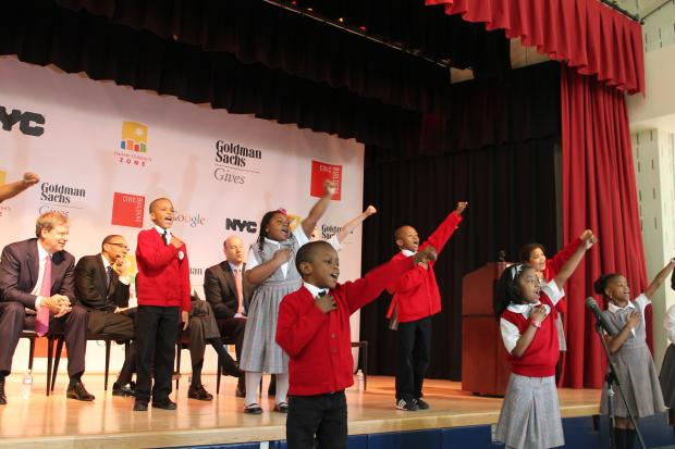 Mayor Michael Bloomberg joined Harlem Children's Zone president and CEO Geoffrey Canada along with New York City Housing Authority Chairman John Rhea and Schools Chancellor Dennis Walcott to officially open the $100 million Promise Academy I located in the middle of St. Nicholas Houses Thursday.