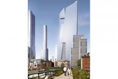A rendering of the Hudson Yards South Tower, which will straddle the High Line.