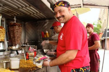 "Fares ""Freddy"" Zeideia, who runs the food truck King of Falafel and Shawarma at Broadway and 30th Street in Astoria."