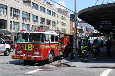 Crews responded to reports of smoking manholes on West 14th Street on Monday afternoon.