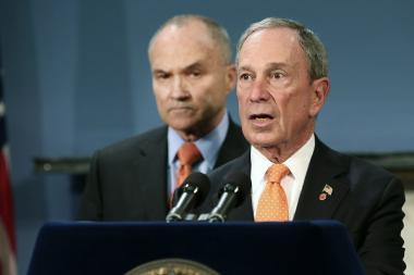 New York City Mayor Michael Bloomberg (R) speaks during a news conference as Police Commissioner Raymond Kelly listens.