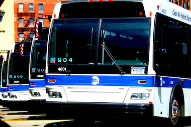 An MTA bus struck a pedestrian crossing a Ridgewood intersection Friday morning, police said.