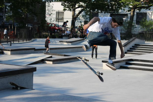 The park attracts skaters from around the city.