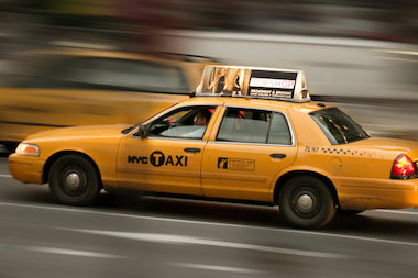 A New York City yellow cab.