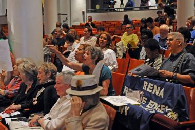 The Rent Guidelines Board voted during a meeting at Cooper Union to increase lease renewals for rent-stabilized apartments, June 20, 2013.