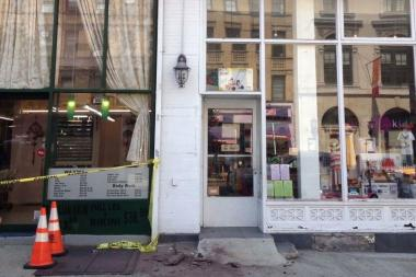 No one was injured when the debris fell this morning from 451 Amsterdam Ave., officials said.