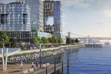 "A rendering of ""Seaport City"" included in Mayor Michael Bloomberg's climate change resiliency plan."