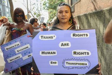 Ruby Mendosa, age 39 attends the annual NYC Trans Day of Action on June 28, 2013.