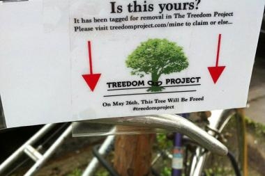 The Treedom Project abandoned its plan to clip bikes from trees, the leader said.