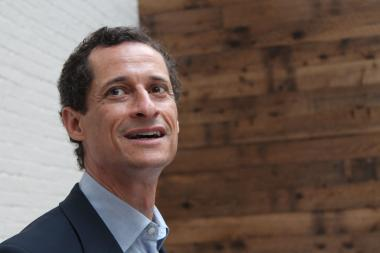 "Anthony Weiner defended his record at a mayoral forum on Tuesday, Aug. 6 2013, after reportedlt calling an opponent ""grandpa."""