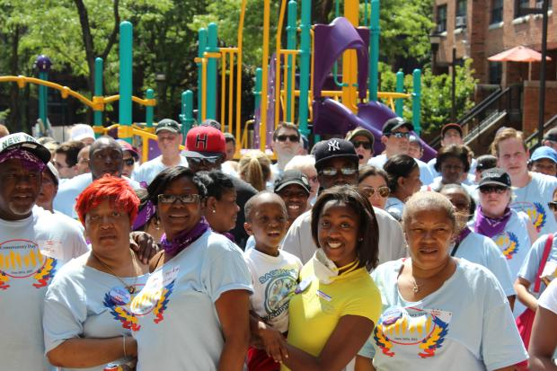 More than 200 people helped erect a new playground at Willoughby Court.