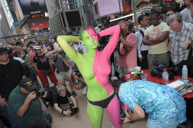 Artist Andy Golub, of Nyack, says he'll be painting male and female nude models in Times Square on Wednesday afternoon, July 10, 2013.