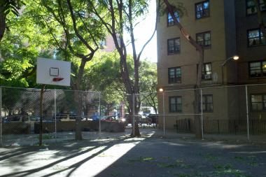 A woman was playing basketball in East Harlem when a branch fell on her, witnesses said.