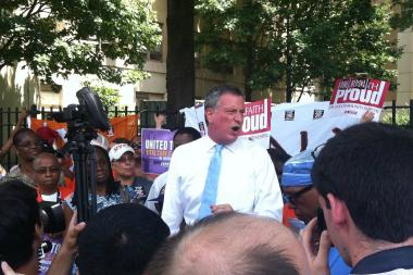 Mayoral candidate Bill de Blasio at a protest outside Downstate Medical Center, July 15.
