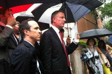 Public Advocate Bill de Blasio speaks at a press conference, July 22, where he announced that an Appellate Court judge had upheld a restraining order to keep LICH running.