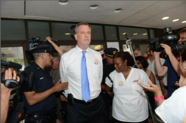 Mayoral candidate Bill de Blasio was arrested at a Long Island City Hospital closure protest, July 10, 2013.