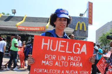 The protest was one of a series of rallies staged by fast-food workers in New York and other cities on July 29, 2013.