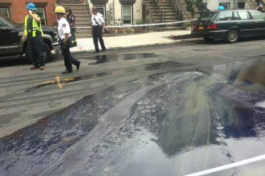 The liquid spilled onto the street near Third Avenue and 23rd Street in Brooklyn, fire said