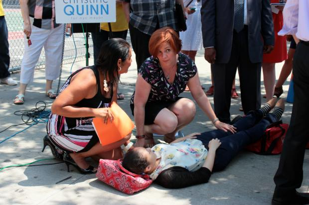 Yvette Toro, 18, who interns with Councilwoman  Diana Reyna 's office, collapsed July 16 2013 at a press conference where City Council Speaker Christine Quinn criticized East 91st Street Marine Transfer Station opponents.