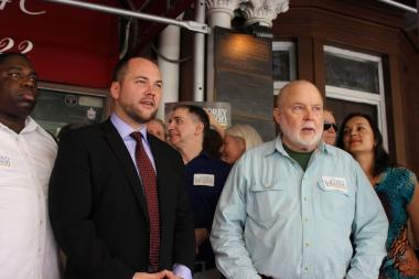 Corey Johnson was endorsed by Michael McKee of TenantsPAC, along with tenants from the Hotel Chelsea, on July 29 2013.