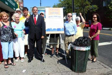 City Council hopeful Costa Constantinides and community leaders at press conference on July 15, 2013, where he outlined a plan to deal with garbage and litter in Astoria.