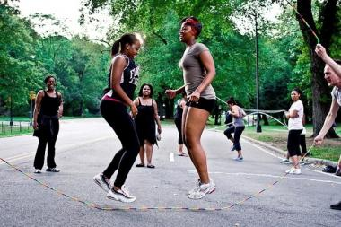 The 25th annual Double Dutch League Holiday Classic will take place at the Apollo Theater. Pictured here: Double Dutch Aerobics in Fort Greene Park.