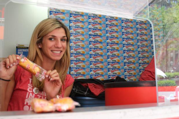 Hostess hands out free Twinkies Monday to celebrate the return of their classic treat.