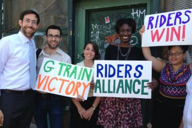 Members of the Riders Alliance and State Senator Daniel Squadron rejoiced the planned improvements on the G train.