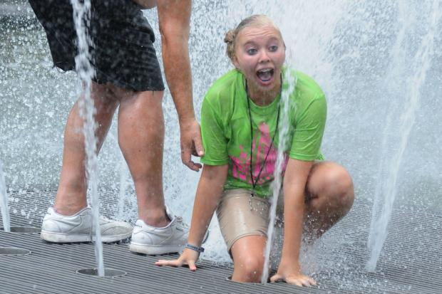 A teen girl was badly cut July 15, 2013 when her foot was caught in a mechanism of the Washington Square Park fountain.