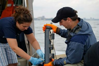 Researchers from Columbia University take water samples from the Hudson River.