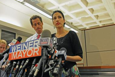 Huma Abedin stood by her husband during his 2013 campaign for mayor despite the revelations that he was involved in an Internet tryst.