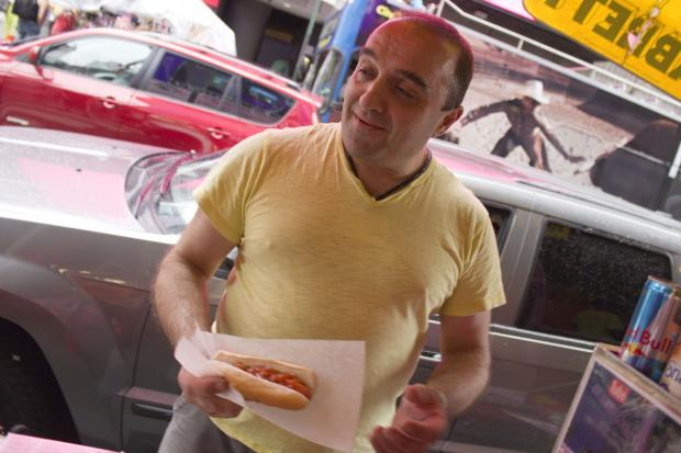 Ioannis Galanopoulos, 48, has worked as a hot dog and pretzel vendor at the corner of West 46th Street and Broadway for 34 years.