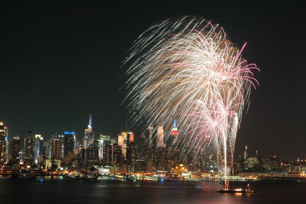 The New York Fourth of July Macy's fireworks display over the Hudson River marking the 237th anniversary of the Declaration of Independence from the Kingdom of Great Britain.