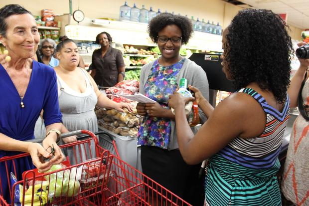 Residents learned about healthy eating habits at a Key Food store in Jamaica.