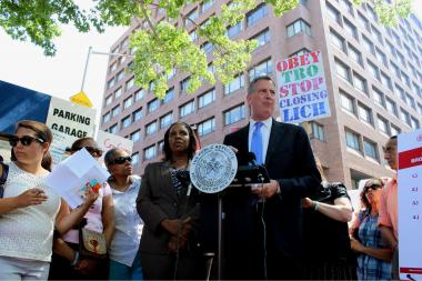 Bill de Blasio as public advocate spoke at a rally to save the hospital on July 29, 2013.