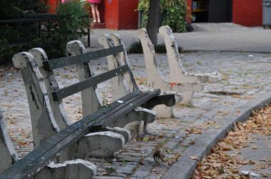 Benches have been stripped from the park along with other recent vandalism acts, neighbors said.
