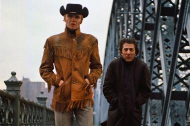 "Jon Voight and Dustin Hoffman in John Schlesinger's 1969 film ""Midnight Cowboy."""