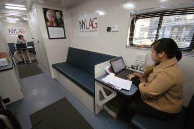 A mobile legal help center, run by New York Legal Assistance Group and the New York State Courts' Access to Justice Program, will give free legal assistance outside the Arlington Terrace Houses on July 22.