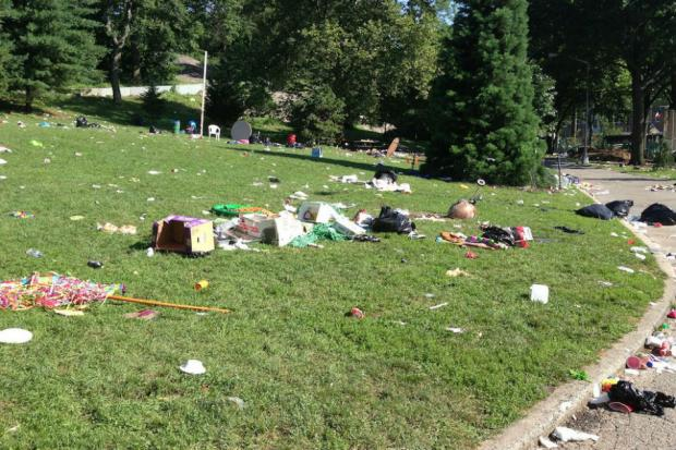 After the long Fourth of July weekend, lawns at the park, which stretch from West 110th to West 123rd streets between Manhattan and Morningside avenues, were strewn with everything from an abandoned barbecue grill and charcoal placed in tree pits to a plastic chair and overturned tables, residents said.