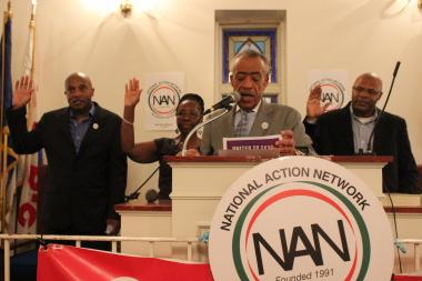 Al Sharpton swears in (from L to R) James McDougal, Queenie Huling and Tony Herbert as National Action Network chapter leaders.