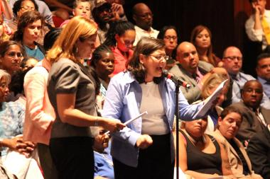 Councilwoman Rosie Mendez spoke alongside Councilwomen Margaret Chin and Melissa Mark-Viverito at NYCHA's annual public hearing.