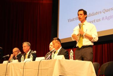 New York City mayoral candidates at a forum on senior issues in Manhattan. From right to left: Anthony Weiner, Comptroller John Liu, John Catsimatidis, Public Advocate Bill de Blasio, Sal Albanese