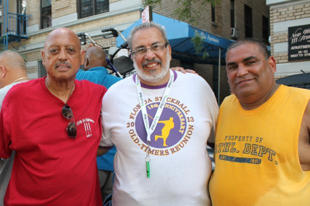 Sunday was the 45th Old Timers' Festival in 111th Street between Lenox and Madison Avenues. The annual stickball game and salsa party is a celebration of the pass time that brought young people growing up in rough neighborhoods so much joy.